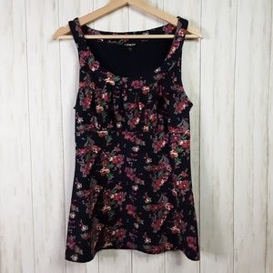 Express Floral Top Tank Navy Blue Pink Large